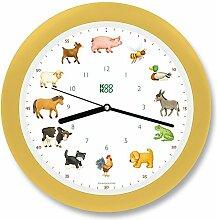 KOOKOO KidsWorld Creme gelb Wanduhr mit Tiergeräuschen Tieruhr Bauernhofuhr mit 12 Tieren vom Land mit Lichtsensor