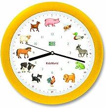 KOOKOO KidsWorld Gelb silent move Wanduhr mit Tiergeräuschen Tieruhr Bauernhofuhr mit 12 Tieren vom Land mit Lichtsensor