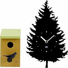 KooKoo - Tree-BirdBox (2 tlg.) Wanduhr, schwarz /