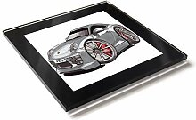Koolart Cartoon Auto Porsche Carrera S Glas Tisch