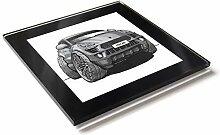 Koolart Cartoon Auto Porsche Macan Glastisch