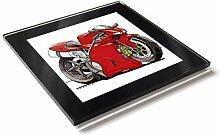 Koolart Cartoon Motorrad Ducati 998 Glastisch