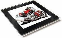 Koolart Cartoon Motorrad Ducati Monster Glastisch