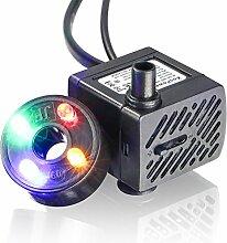Koopower Mini Wasserpumpe mit LED 180L/h 3.5W