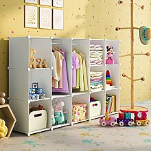 Koossy Erweiterbares Kinderregal Kinder Kleiderschrank mit Giraffe Aufkleber für Kinderzimmer (Weiß, 15 Cube)