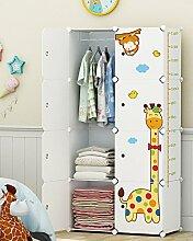 Koossy Erweiterbares Kinderregal Kinder Kleiderschrank mit Giraffe Aufkleber für Kinderzimmer (Weiß, 8 Cube)