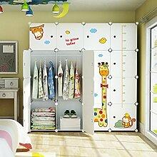 Koossy Erweiterbares Kinderregal Kinder Kleiderschrank mit Giraffe Aufkleber für Kinderzimmer (Weiß, 16 Cube)