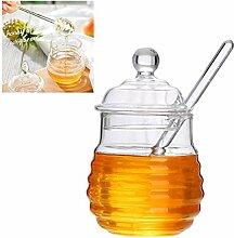 koowaa Honigglas mit Dipper und Deckel aus Glas,