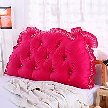 Kopfbrett Kissen Big Back Pad Sofa Rückenlehne Soft Case Bett Kissen Baumwolle Lendenwirbel Lesekissen ( Farbe : Dark pink , größe : 150*70cm )