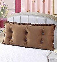 Kopfbrettkissen Baumwolle Bett Kissen Doppelbett Rückenlehne Kissen Bedside Big Headboard Kissen ( Farbe : Braun , größe : 1.2m )