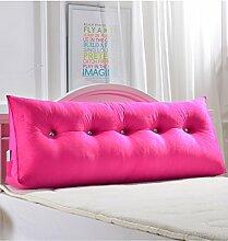 Kopfbrettkissen Bettseite Rückenlehne Baumwolle Bett Kissen Doppelbett Rückenlehne Kissen Bedside Big Kopfteil Kissen Waschbar ( Farbe : Rot , größe : 180*50cm )