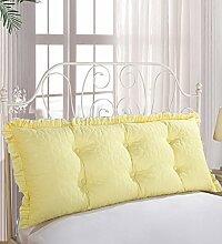 Kopfbrettkissen Bettseite Rückenlehne Baumwolle Bett Kissen Doppelbett Rückenlehne Kissen Bedside Big Kopfteil Kissen Waschbar ( Farbe : Gelb , größe : 2m )