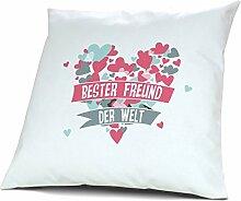 Kopfkissen Beste Freundin der Welt - Motiv Herz, 40 cm, 100% Baumwolle, Kuschelkissen, Liebeskissen, Namenskissen, Geschenkidee