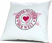 Kopfkissen Beste Mudder der Welt - Motiv Weltkarte, 40 cm, 100% Baumwolle, Kuschelkissen, Liebeskissen, Namenskissen, Geschenkidee