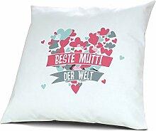 Kopfkissen Beste Mutti der Welt - Motiv Herz, 40 cm, 100% Baumwolle, Kuschelkissen, Liebeskissen, Namenskissen, Geschenkidee