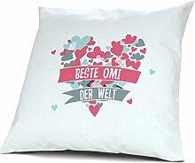Kopfkissen Beste Omi der Welt - Motiv Herz, 40 cm, 100% Baumwolle, Kuschelkissen, Liebeskissen, Namenskissen, Geschenkidee