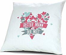 Kopfkissen Bester Mann der Welt - Motiv Herz, 40 cm, 100% Baumwolle, Kuschelkissen, Liebeskissen, Namenskissen, Geschenkidee