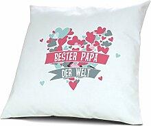 Kopfkissen Bester Papa der Welt - Motiv Herz, 40 cm, 100% Baumwolle, Kuschelkissen, Liebeskissen, Namenskissen, Geschenkidee