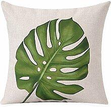 Kopfkissen Fresh Green Southeast Asian Pflanze Baumwolle und Leinen Kissen Kissen Model Between The Sofa Kissenbezüge 55cm Kissen ( Farbe : E )