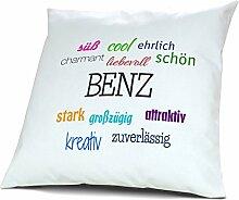 Kopfkissen mit Namen Benz - Motiv Positive Eigenschaften, 40 cm, 100% Baumwolle, Kuschelkissen, Liebeskissen, Namenskissen, Geschenkidee, Deko