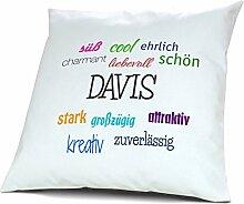 Kopfkissen mit Namen Davis - Motiv Positive