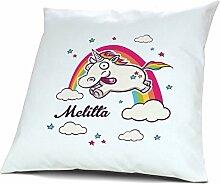Kopfkissen mit Namen Melitta - Motiv Verrücktes Einhorn, 40 cm, 100% Baumwolle, Kuschelkissen, Liebeskissen, Namenskissen, Geschenkidee