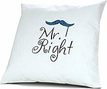 Kopfkissen Mr. Right - Fun Kissen, Spaß, 40 cm, 100% Baumwolle, Kuschelkissen, Liebeskissen, Namenskissen, Geschenkidee