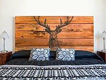 Kopfteil Bett PVC Hirsch auf braunem Holzimitat |