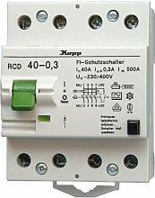Kopp 754043087 Fehlerstromschutzschalter, 4-polig nach DIN VDE 0664
