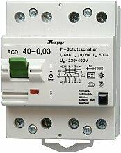 Kopp 754048088 Fehlerstromschutzschalter, 4-polig nach DIN VDE 0664