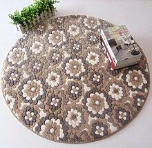 Korallen Samt Runde Teppich Fleece Boden Wohnzimmer Dekoration rutschfeste Dusche Bad Teppiche, 120 cm, 3