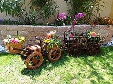 Korb-Bagger,Traktor+Anhänger braun hell 80 + 60 cm XL, Korbgeflecht, WETTERFEST**, witzige Gartendeko 100% NATUR, ideal als Pflanzkasten, Blumenkasten, Pflanzhilfe, Pflanzcontainer, Pflanztröge, Pflanzschale, Rattan, Weidenkorb, Pflanzkorb, Blumentöpfe, Holzschubkarre, Pflanztrog, Pflanzgefäß, Pflanzschale, Blumentopf, Pflanzkasten, Übertopf, Übertöpfe, , Holzhaus Pflanzgefäß, Pflanztöpfe Pflanzkübel