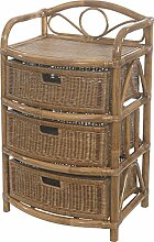 korb.outlet Rattan-Regal 3 Schübe 53x43x89 in
