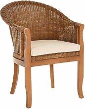 korb.outlet Rattan-Sessel mit Holzbeinen, Sessel