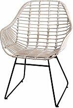 Korb-Sessel im Retro-Stil aus echtem Rattan mit