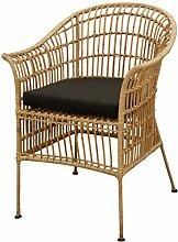 Korb-Sessel im Retro-Stil mit Polster aus echtem