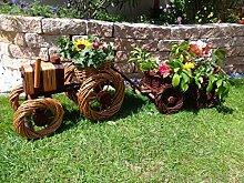 Korb-Traktor+Anhänger Hänger dunkelbraun, 60 + 60 cm XL, Korbgeflecht, WETTERFEST**, witzige Gartendeko 100% NATUR, ideal als Pflanzkasten, Blumenkasten, Pflanzhilfe, Pflanzcontainer, Pflanztröge, Pflanzschale, Rattan, Weidenkorb, Pflanzkorb, Blumentöpfe, Holzschubkarre, Pflanztrog, Pflanzgefäß, Pflanzschale, Blumentopf, Pflanzkasten, Übertopf, Übertöpfe, , Holzhaus Pflanzgefäß, Pflanztöpfe Pflanzkübel