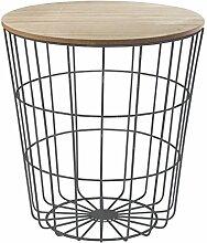 Korbtisch Beistelltisch Wohnzimmertisch BESSY 10 | Schwarz mit Holztischplatte