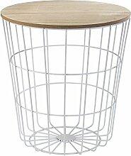 Korbtisch Beistelltisch Wohnzimmertisch BESSY 11 | Weiß mit Holztischplatte