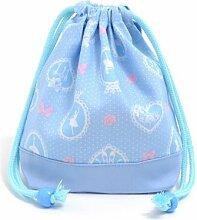 Kordelzug Gokigen Mittagessen (kleine Gr??e) Tasse Faltenbeutel Ballerina in Spiegel (hellblau) x Ox-Saxophon in Japan N3571400 (Japan-Import) gemach