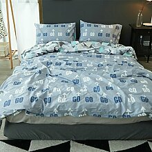 Korean style100% cotton four setzt weiche bequeme haltbare haut-friendly bettwäsche-sammlung bed sheet cartoon pattern-J Queen1