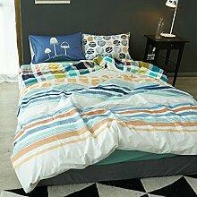 Korean style100% cotton four setzt weiche bequeme haltbare haut-friendly bettwäsche-sammlung bed sheet cartoon pattern-G Queen1