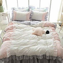Korean style100% cotton four setzt weiche bequeme haut-friendly bettwäsche cover set mit 2 pillow shams bed sheet lace edge -B Queen2