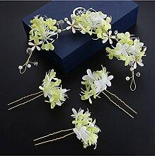 Koreanische Braut Kopf Blume Sen weibliche Hand Blume Kopfschmuck Brautkleid Brautkleid Kleid Zubehör ( Farbe : Grün )