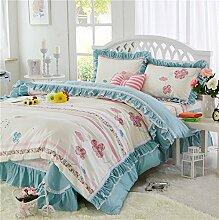 Koreanische version von pure cotton princess four-piece setwhole cotton garden floral bed-C200x200cm(79x79inch)