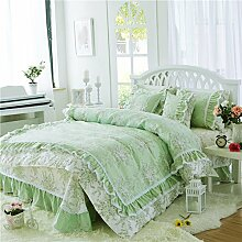 Koreanische version von pure cotton princess four-piece setwhole cotton garden floral bed-E200x200cm(79x79inch)