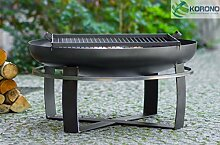 Korono 2 in 1 Feuerschale 70cm & Grill 50x50cm - Lager | mobiler Grill | stilvolle Beleuchtung