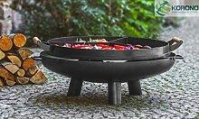 Korono 2 in 1 Feuerschale 80cm mit Griff & 3 Kammern Pfanne mit Griff   Feuerstelle & Grillpfanne