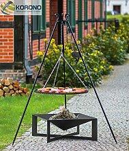Korono 2 in 1 Schwenk Grill 180cm Dreinbein Kettenzug Rost 80 cm & quadratische Feuerschale 70x70cm