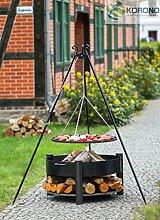 Korono 2 in 1 Schwenk Grill 180cm Rost 70cm & Feuerschale 70cm & Ablage für Holz - Elegant & Stilvoll